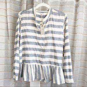 NWT Lucky Brand Flounce Hem Striped Blouse